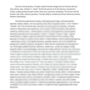 """Didvyrių vaizdavimas Homero epinėse poemose """"Iliada"""" ir """"Odisėja"""""""