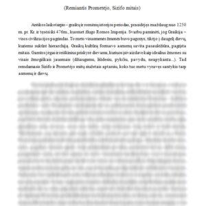 Žmonių ir dievų santykiai Antikos laikais (Remiantis Prometėjo, Sizifo mitais)